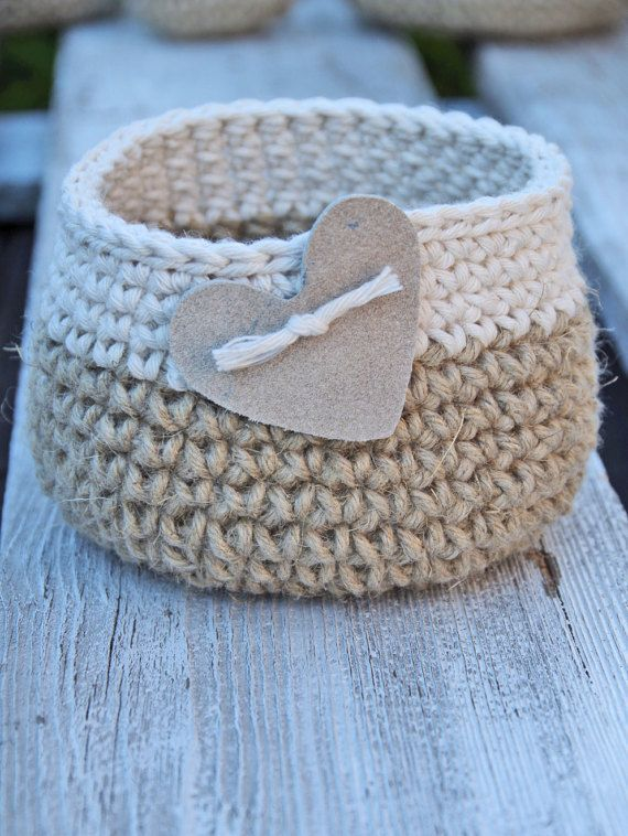 Crochet, basket, heart, gift Basket, Cotton, linnen Natural Wedding Rustic  Crochet  Basket leather hert Alternative Gift Bags  Wedding