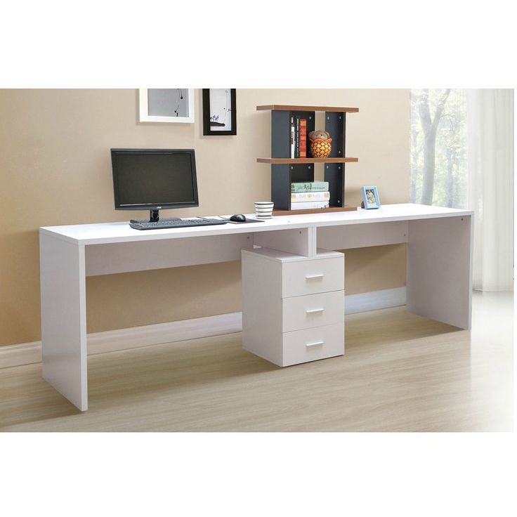 Modern White Single Pedestal Desk With Small Black Bookcase And Cream Wall  Paint Color Also Wooden · Computer TablesLong ...