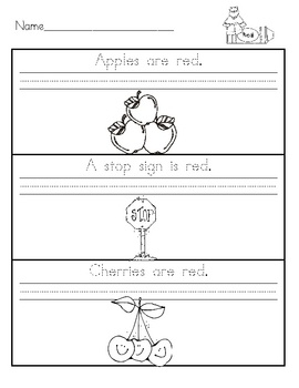 These color worksheets are great to use for the beginning of the year in first grade.  Students trace the sentence, copy it, read it, and color.