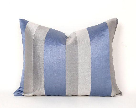 Blue Grey Pillows, Blue Pillow Covers, Blue Grey Striped Pillows, Metallic Couch Cushions, 12x18, 14x18 Lumbar, Contemporary pillow Decor
