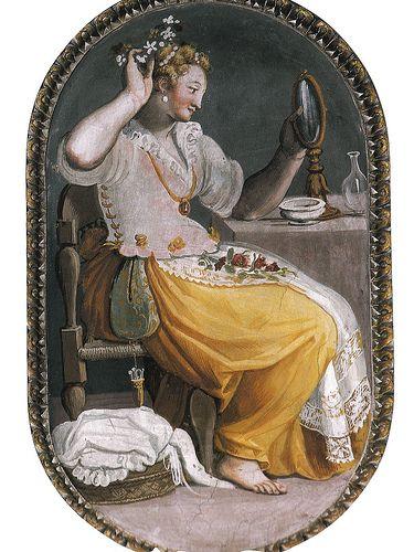 1580 Allessandro Allori. Pocket and pretty apron.