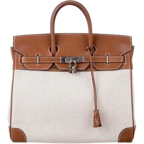 Pre-owned Herm?s Toile HAC Birkin 32 (87.912.445 IDR) ❤ liked on Polyvore featuring bags, handbags, brown, hand woven bags, hermes handbags, flap purse, kiss-lock handbags and preowned handbags