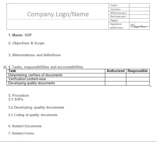 Free Standard Operating Procedures Template Download Free Excel