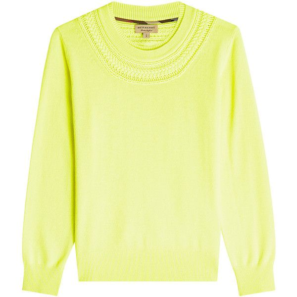 Burberry Guadaira Cashmere Pullover (715 CAD) ❤ liked on Polyvore featuring tops, sweaters, yellow, yellow top, neon sweater, wool cashmere sweater, neon yellow sweater and yellow sweater