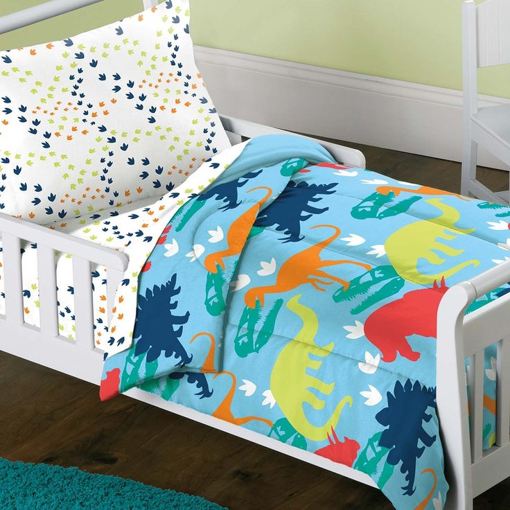Dinosaur Prints 4-piece Toddler Bedding Set | Overstock.com Shopping - The Best Deals on Kids' Bedding