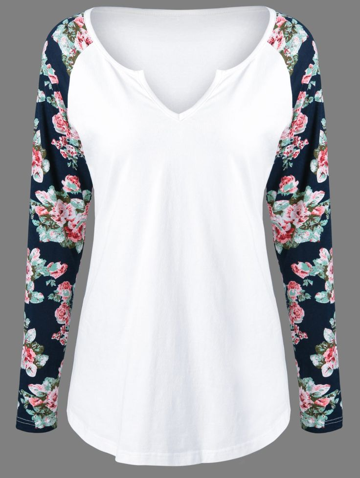 Low Cut Floral Pattern Sleeve T-Shirt in White | Sammydress.com