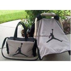 New MICHAEL JORDAN Grey/Black Diaper Bag & Infant Car Seat Carrier Canopy Cover