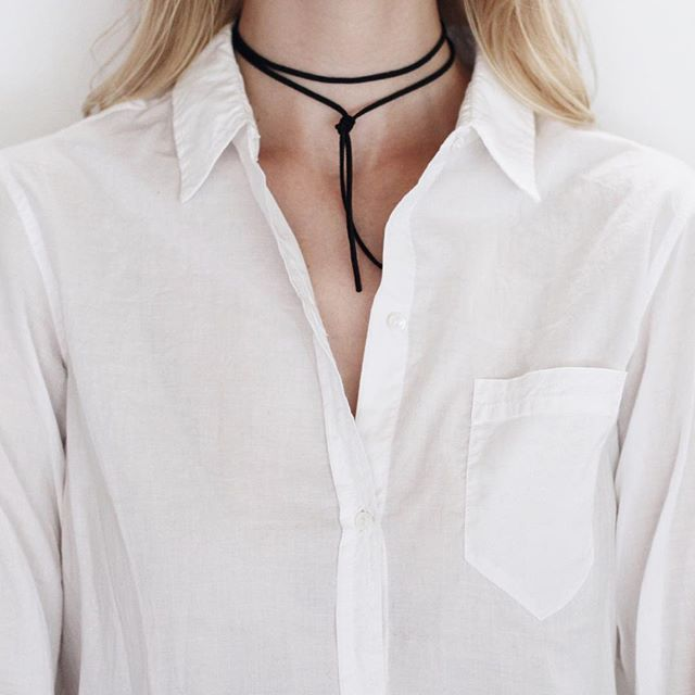 White shirt with black shoelace tie choker