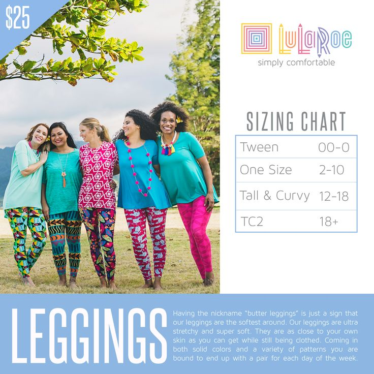 Check out this size chart for LuLaRoe Leggings, including TC2! If you need any help with your LuLaRoe sizing, you can connect with me at www.shopwithrandi.com