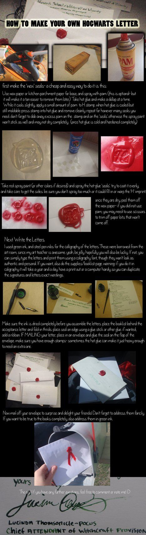 DIY - Hogwarts Acceptance letter Tutorial. Wouldn't this just tickle a Harry Potter fan?
