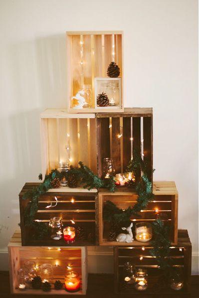Ich mag diese Idee eines Weihnachtsbaums aus Holzkisten. Sie ist der perfekte Weg, um …   – _Category: Festive