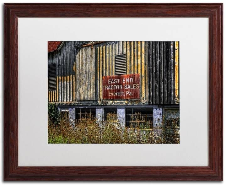 """Trademark Fine Art """"East End Tractor Sales"""" Matted Wood Finish Framed Wall Art"""