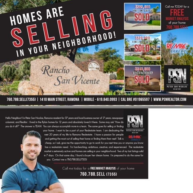 Look for my latest postcard those of you that live in the Ryland Homes!  I was your neighbor for 12 years and just sold a home out there in four days for full list price!  Let me do the same for you!! #realestate #ramona #realtor #sellingramona @ramonasrealtor #localrealtors - posted by Peter San Nicolas https://www.instagram.com/petersannicolas - See more Real Estate photos from Local Realtors at https://LocalRealtors.com