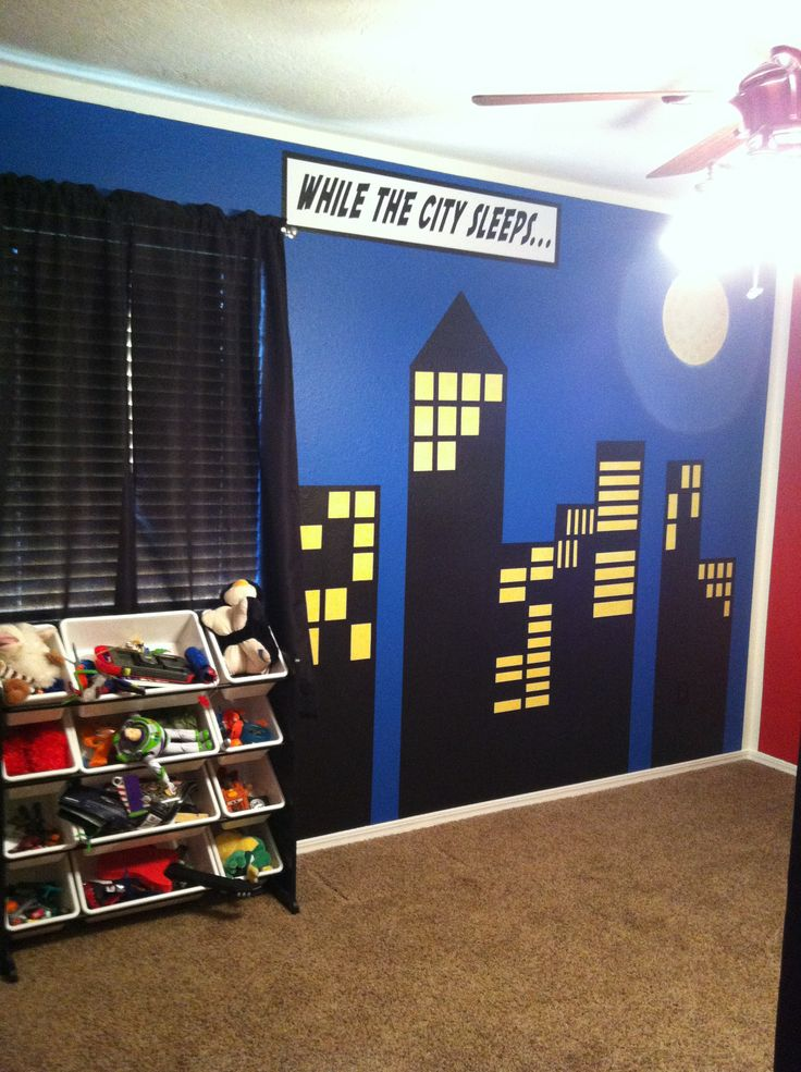 Superhero Comic Book Wall Design Bedroom Ideas Pinterest