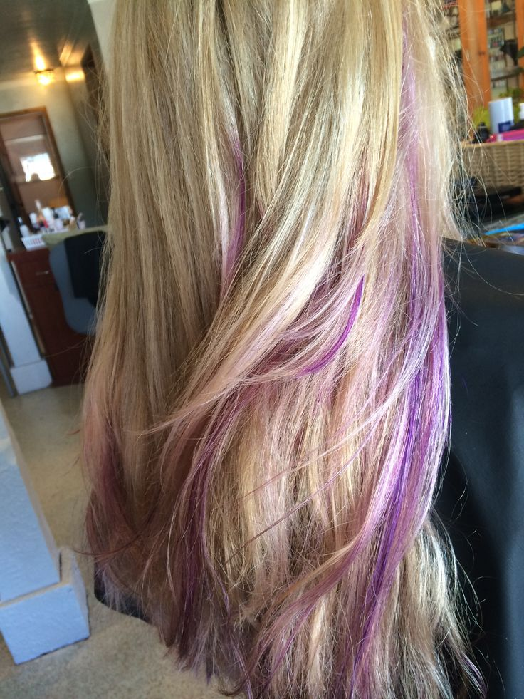 Client wanted pastel purple and darker purple balayaged through out her beautiful blonde. She definitely rocks the fun color ! Joico Intensities used to achieve these colors, and Davines lightener for the balayaged highlights  Hair by Katelyn Thibodeau Body and Soul, Quincy,CA