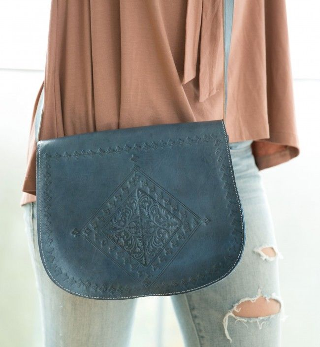 Engraved Messenger Bag - Denim Blue