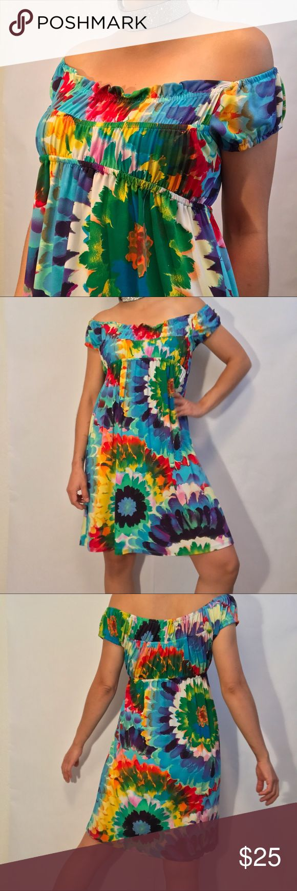 Tiana B. Rainbow tie dye dress Tiana B. Off the shoulder dress,  in perfect condition. Super bright multicolored fabric, silky cool feel perfect for summer BBQs🍗 with some baby blue woven wedges. Dresses Midi