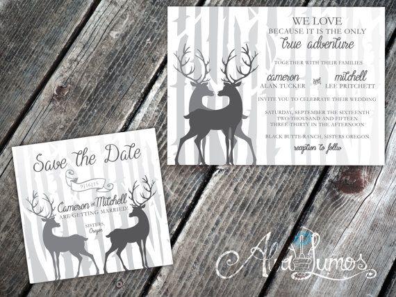 Groom and Groom Rustic deer Wedding invitation LGBTQ by AlvaLumos