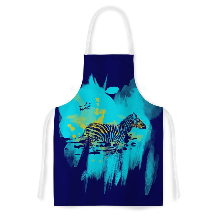 Kess InHouse Frederic Levy-Hadida 'Watercolored Blue' Zebra Artistic Apron