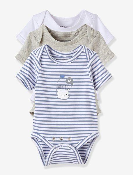 Bonne idée : une gamme de bodies au confort hyper stretch et avec une double rangée de pressions, pour s'adapter à tous les bébés, des plus menus aux plus joufflus !   Manches courtes, emmanchures américaines. Entrejambe avec double rangée de pressions pour s'adapter à la morphologie de bébé. Des pressions qui résistent aux habillages répétés et facilitent le change. Lot bleu: 1 rayé bleu + 1 gris chiné + 1 blanc, motif placé devant. Lotrose: 1 rayé rose + 1 gris chiné + 1 blanc, motif…