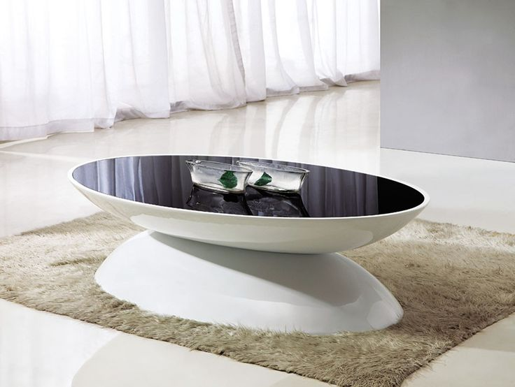 Aura Oval Black Glass U0026 White Gloss Coffee Table
