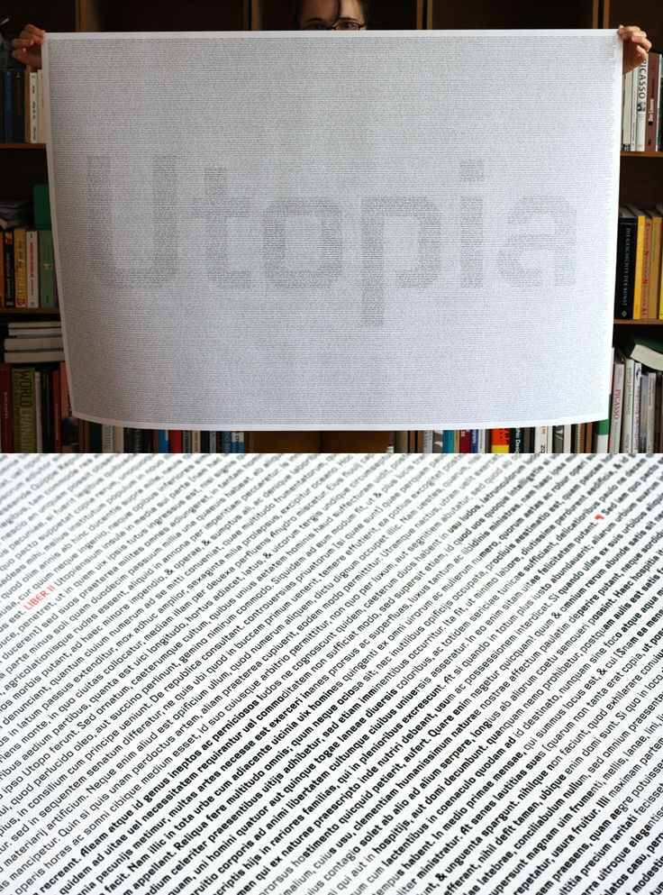 Poster showing Thomas Morus' Utopia using the Videon typeface by Georg Salden.