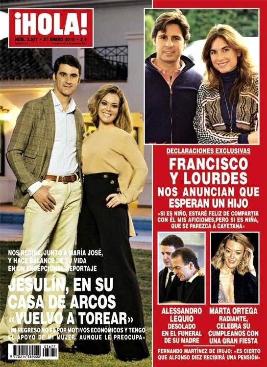 revista HOLA del 21 de enero de 2015 con Jesulín de Ubrique y Maria José Campanario en portada
