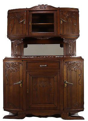 Antique Furniture Art Nouveau Buffet Sideboard Hutch Bar Tiger Oak Marble Top