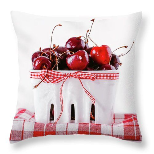 Cherry Throw Pillow featuring the photograph Red Cherries by Oksana Ariskina Fresh red cherries on a white basket with check fabric. Available as mugs, posters, greeting cards, phone cases, throw pillows, framed fine art prints, metal, acrylic or canvas prints, shower curtains, duvet covers with my fine art photography online: www.oksana-ariskina.pixels.com #OksanaAriskina