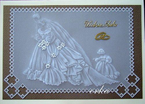 kartka okolicznościowa w technice pergaminowej z okazji ślubu.Parchment craft