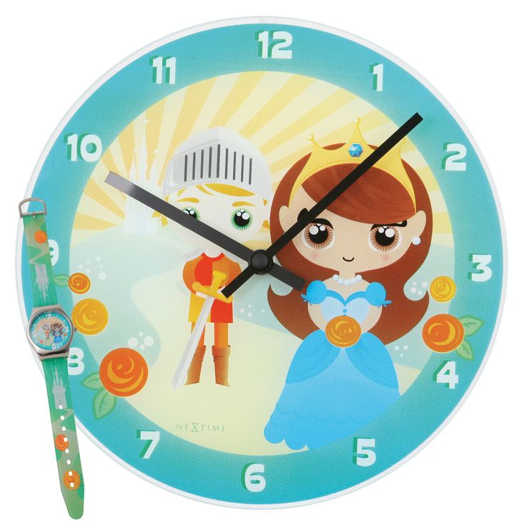 Zegar dziecięcy Knight & Princess + zegarek na rękę - NEXTIME - DECO Salon. The clock will hit a chord with girls who love fairy, fairy-tale world. #giftidea #forgirl #dladzieci #kidsdesign #watch