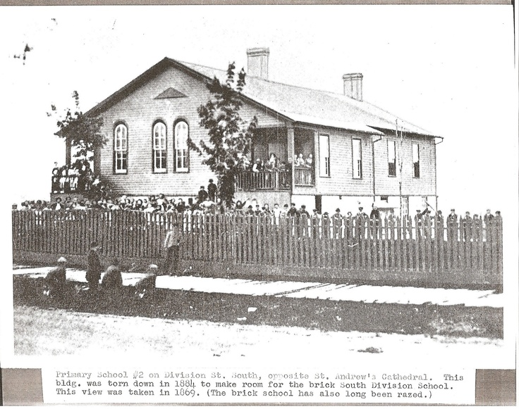 South Division School, located opposite of St. Andrew's Cathedral, and torn down in 1884 - Photo from 1869