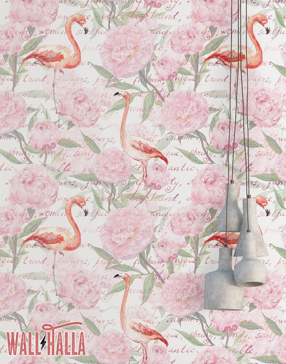Flamingo Vintage Flowers Wallpaper  Removable by WallHalla on Etsy