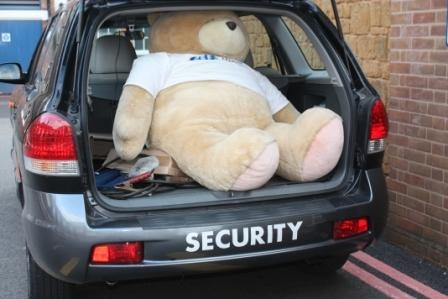 Too tired to walk home, getting a lift from my mates in security