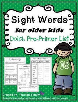 """FREEBIE  Try out this sampler then check out the resources I have in my store for the primer list up to the third grade list of sight words.  These are great because they give older students practice with the sight words without making them feel like they are doing """"babyish"""" work."""