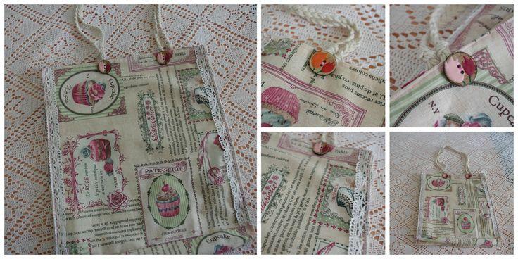 Χειροποίητες ανάσες: Χειροποίητη τσάντα από ύφασμα και δαντέλα (Cupcake...