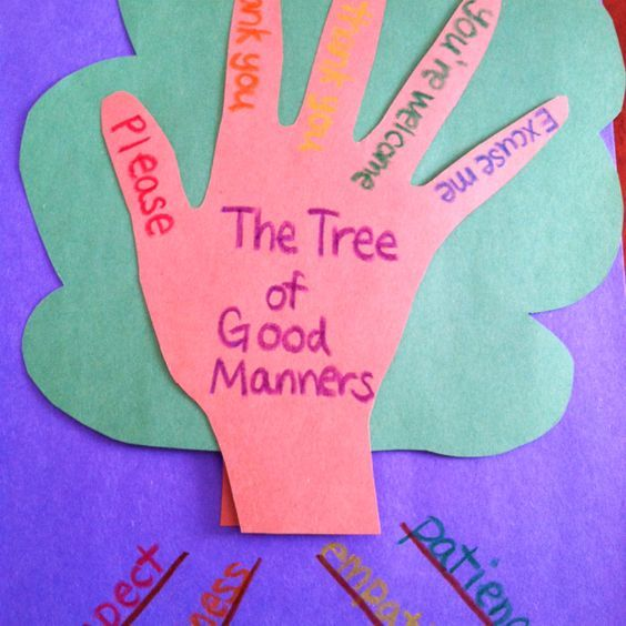 "This is a ""good manners tree"" with values on the ""roots"" (respect, kindness, empathy and patience) and manners on the ""branches"" (please, thank you, no thank you, you're welcome and excuse me). The tree ""grows"" (slit the background paper and make a loop and tape it to the tree part) as kids ""water it"" with good manners.:"