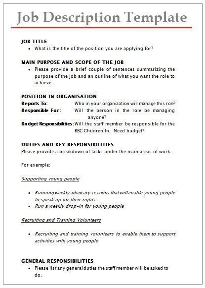 job description templates 10 printable pdf word formats