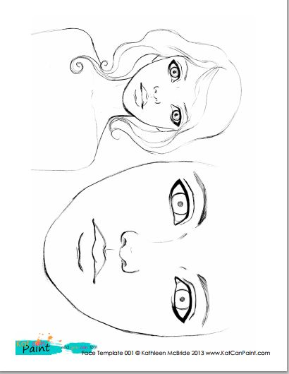 Free Printable Face Template (x2!) Would you like to download a free printable face template that I've hand drawn for you? (Of course!) I mentioned making downloadable/printable templates of my work over in my Facebook group, and everyone liked the idea!  I created one PDF download with two hand drawn faces for you to use in your own art.
