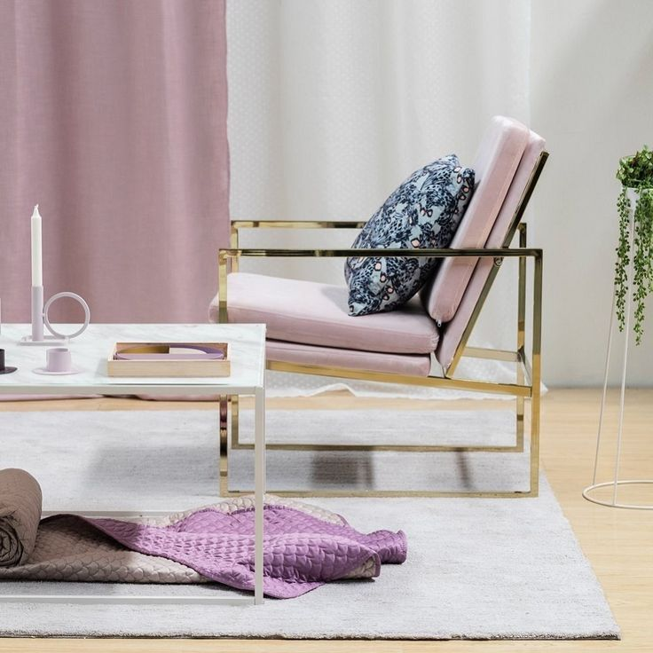 Lounge Sessel In Rosa Samt Stuhl, Kupfer Blick Messing Plattiert Gold  Finish Stahl / Metall
