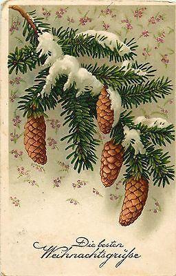 Christmas-greetings-vintage-postcard-pine-cones-fantasy-Romania-royalty-stamp