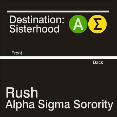 Destination Sisterhood NY Subway Sorority Shirt #AlphaSigma #Rush #Recruitment #NewYork