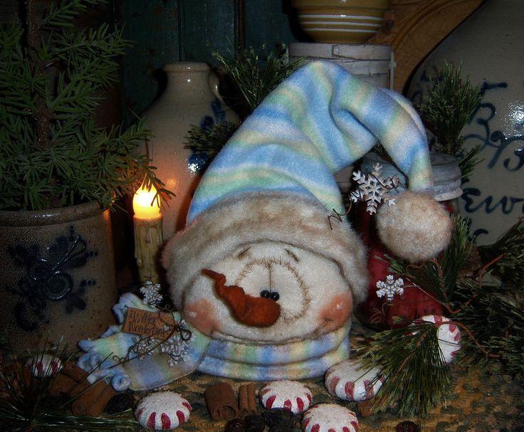 "Primitive Patti's Ratties 7"" Snowman Doll Snowflake Frosty Winter Bear Artist"