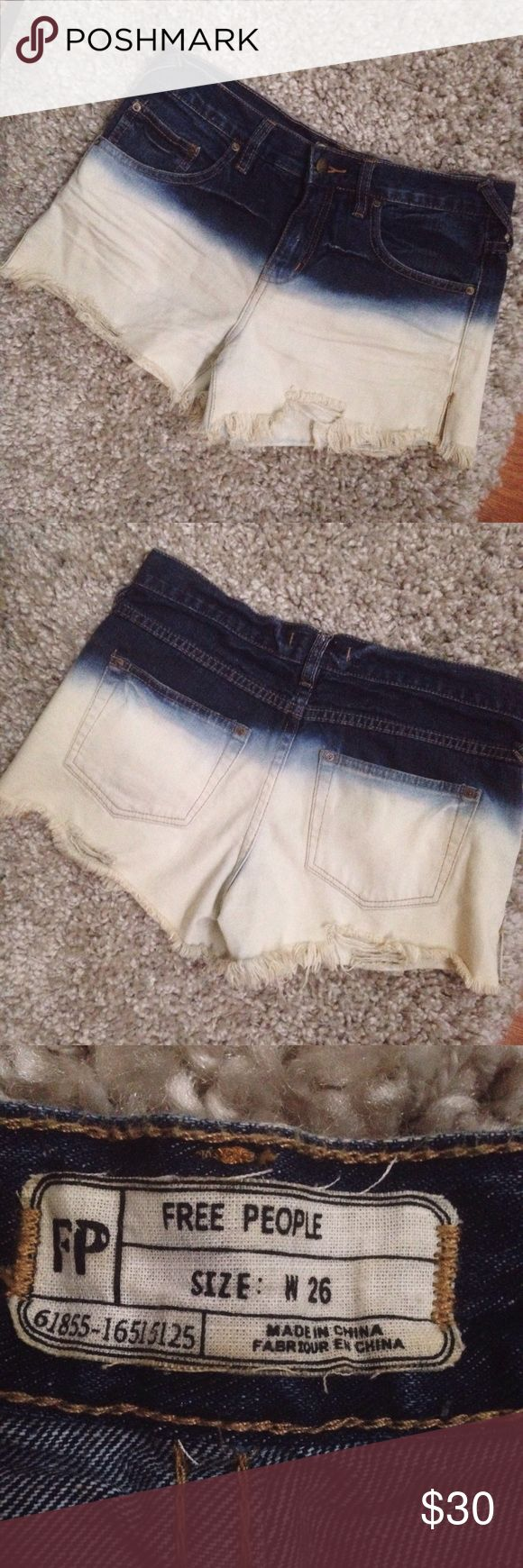 Free People Dip Dye Shorts Only wore these dip dye denim shorts a few times but they are still in great condition! Distressed ends are intentional. 😊 Free People Shorts Jean Shorts