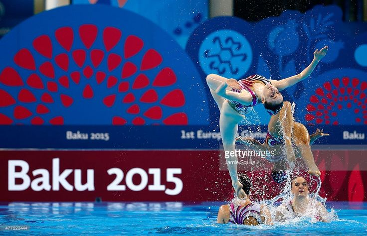Great Britain compete in the Synchronised Swimming Teams final during day three of the Baku 2015 European Games at Baku Aquatics Centre on June 15, 2015 in Baku, Azerbaijan.