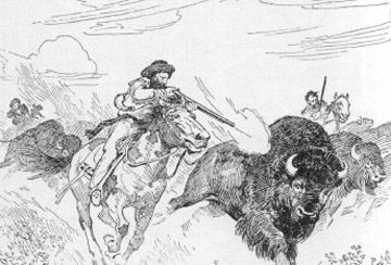 Métis buffalo hunt, sketch by C.W.Jeffreys  Traditionally, the Métis were hunters. Every aspect of their lifestyle was dependent on the buffalo hunt. They needed buffalo to survive.