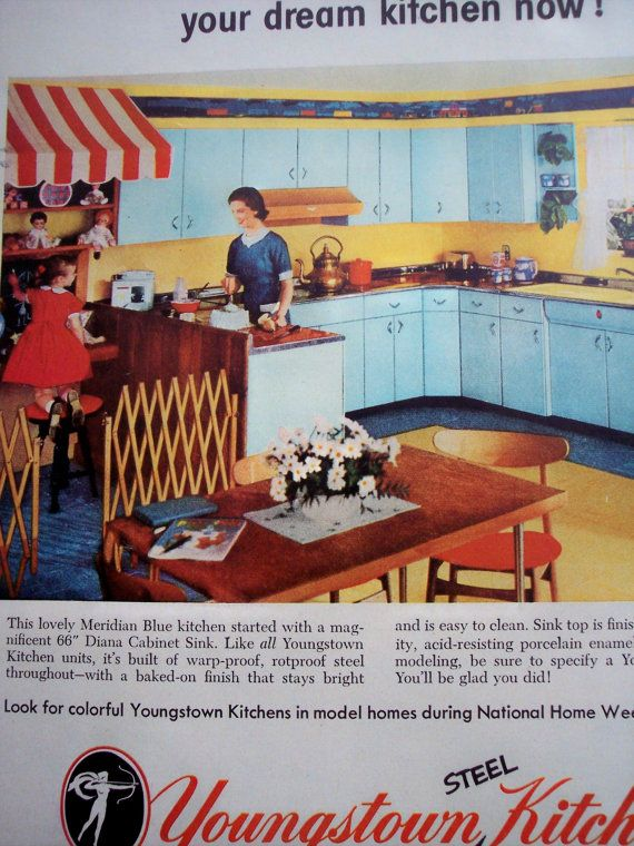 Notice the kitchen cabinets and accent color (yellow) with red chairs.  1950s home decor AD Youngstown Kitchens by AdmanVintageAds on Etsy, $7.99