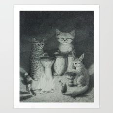 BONGO PAWS: Animal Drum Circle in the Desert with Sand Cat, Fennec Fox, and Hedgehogs Art Print