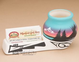 Navajo Pottery Business Card Desk Caddy -Turquoise (nap651)