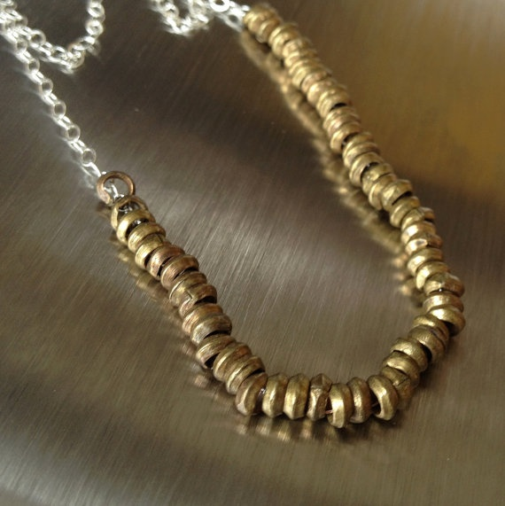 simple brass beads on silver chain necklace - tribal necklace